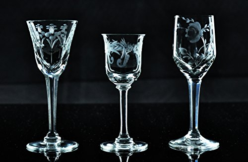 Kusak Cut Glass Works Stonewheel Engraved Hand Cut Crystal Cordial Glasses by Kusak Cut Glass Works