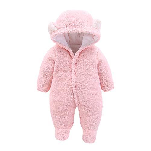 VEKDONE Newborn Baby Cartoon Bear Snowsuit Warm Fleece Hooded Romper Jumpsuit Toddler Clothing Bodysuit(Pink,0-3Months)