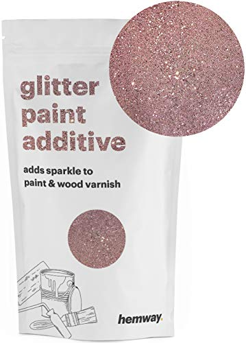 Hemway (Rose Gold) Glitter Paint Additive Crystals 100g/3.5oz for Acrylic Latex Emulsion Paint - Interior Exterior Wall, Ceiling, Wood, Varnish, Dead flat, Matte, Gloss, Satin, ()