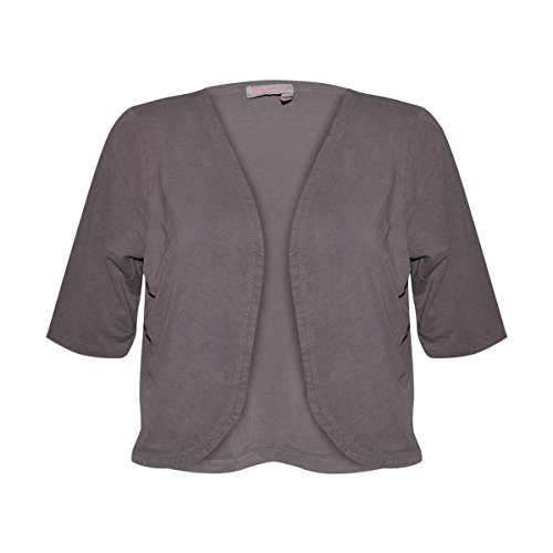 Fresh Produce Womens Open Shrug Cotton Clothing Top (Grey Smoke, Small)