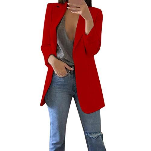 WUAI-Women Long Blazer Work Office Long Sleeve Open Front Cardigan Jacket Suit Plus Size(Red,XXX-Large