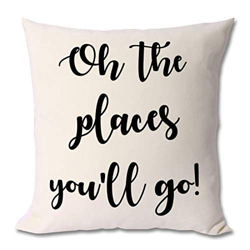 King65irginia Home Decor Gift Cushion Case with Quote, Dr. Seuss, Dr Seuss Pillow Cover, Dr Seuss Quote, Dr Seuss Birthday, Dr Seuss Gift, Dr Seuss Cushion Case for Sofa Bedroom 18 x 18 Inch