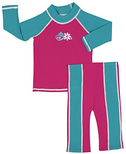 grUVywear UV Sun Protective Baby Girl Long Sleeve Rashguard Shirt & Long Pant UPF 50 Pink Daisy Set 18-24 M