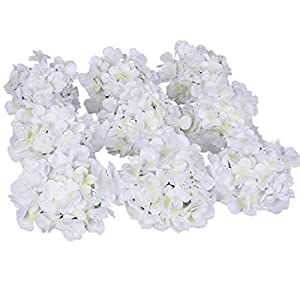 Luyue Silk Hydrangea Heads Artificial Decoration Flowers Garden Floral Decor,Pack of 10 (White) 50
