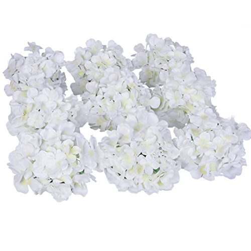 Luyue Silk Hydrangea Heads Artificial Decoration Flowers Garden Floral Decor,Pack of 10 (White)
