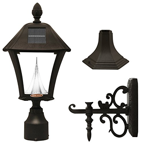 Gama Sonic Baytown Solar Outdoor LED Light Fixture, Pole/Post/Wall Mount Kit, Black Finish #GS-106FPW-B (Outdoor Fixture Wall Mount)