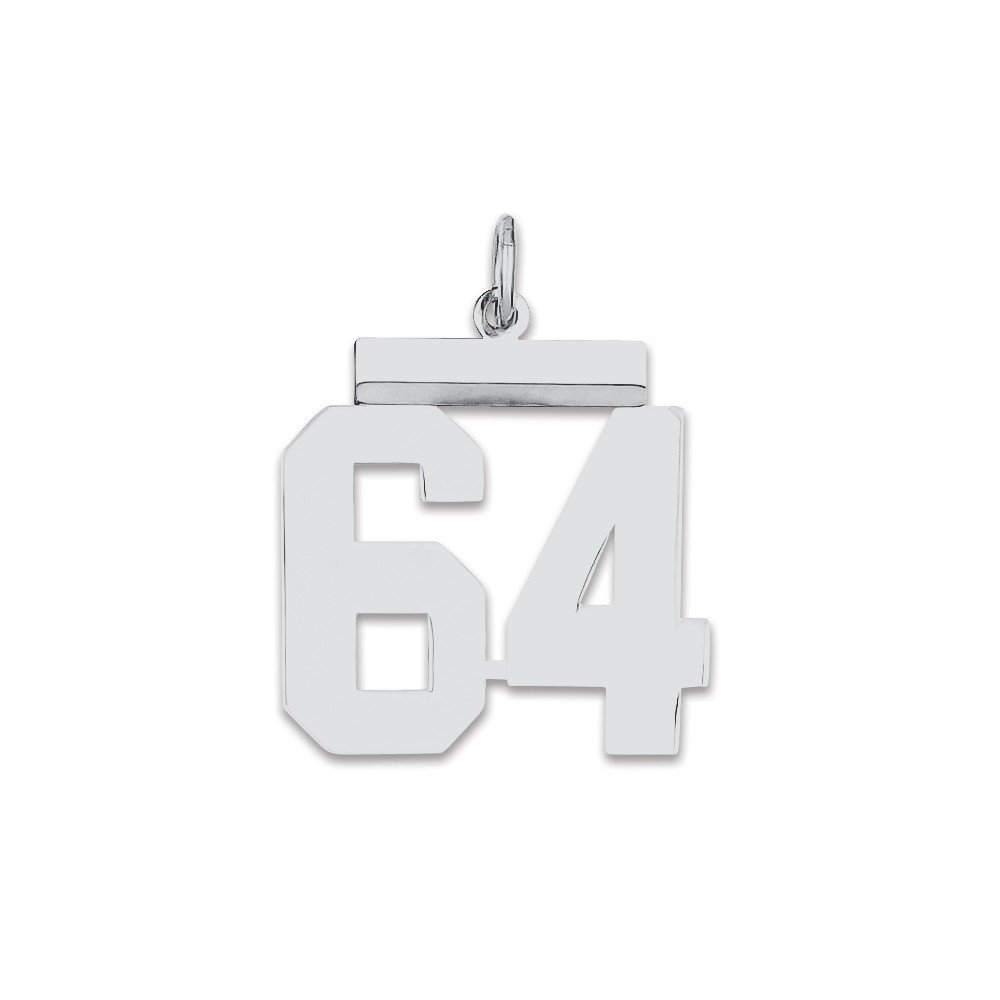 Sterling Silver Medium Polished Number 64 Charm