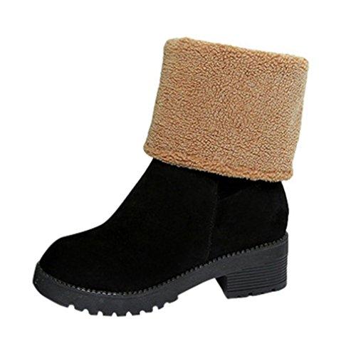 Botas Mujer,Ouneed ® Botas de nieve de doble uso Moda invierno mantenga tibia Color sólidos zapatos Negro