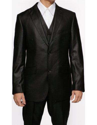 New Mens 3 Pc (Jacket, Pants & Vest) Shiny Black Sharkskin Slim Fit Dress Suit