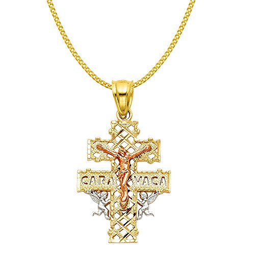 14k Tri-tone Ornate Caravaca Cross Pendant with 0.8-mm Yellow Gold Square Wheat Chain by Precious Stars
