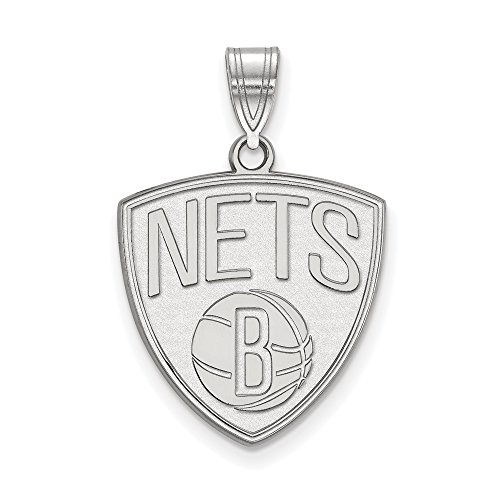 NBA Brooklyn Nets Xlarge Logo Pendant in Rhodium Plated Sterling Silver by LogoArt