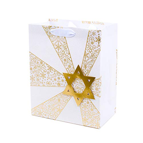 Hallmark Tree of Life Medium Hanukkah Gift Bag (Gold and White, Star of David)