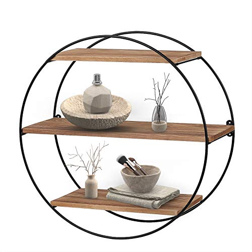 KAThome 4U Floating Shelves, 3-Tier Decorative Wall Shelf, Pine Wood Wall Mounted Shelves for Bedroom, Bathroom, Living Room, Kitchen, Office and More