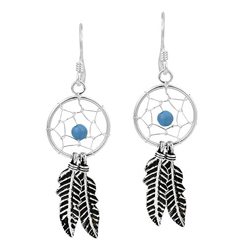 Idyllic Dreamcatcher Bead Simulated Turquoise .925 Sterling Silver - Silver Bead Earrings Sterling Dreamcatcher