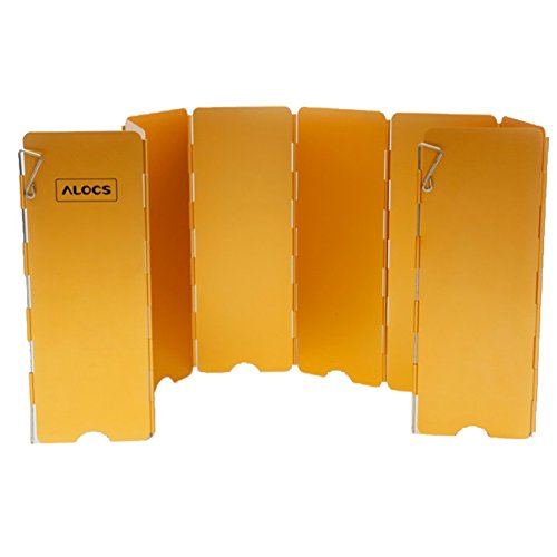 Tentock Ultralight Aluminum alloy Cooking Windscreen Folding Camping Stove Windshield 8 Plates(golden) Golden Stainless Steel Windshield