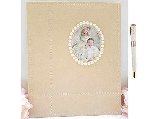 (Towdah Perez Large self Adhesive Photo Album. 40 Pages for 4x6, 5x7, 8x10, 8x12 Photos with Gift Box, Luxury White/Gold Pen. Fabric Cover Album for Wedding Family etc (Beige, Pearls))
