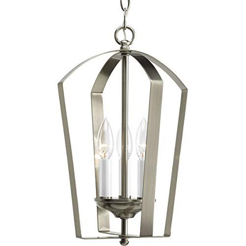 Light Foyer Pendant - Progress Lighting P3928-09 Gather Collection 3-Light Foyer Pendant, Brushed Nickel
