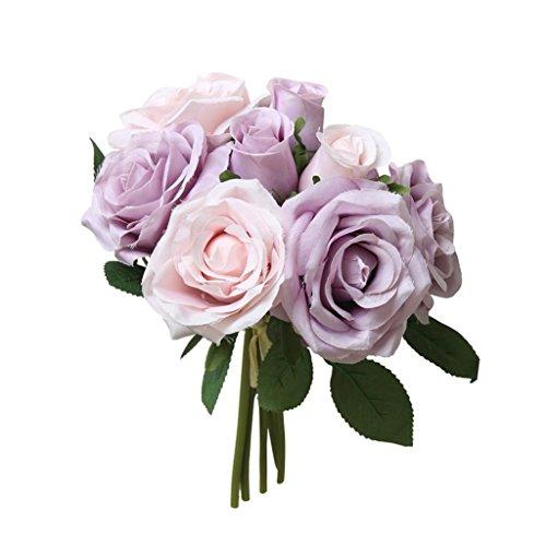 YJYDADA Flower,8 Pcs Artificial Fake Roses Flower Bridal Bouquet Wedding Party Home Decor (Purple) (Lavender Bouquet Rose)
