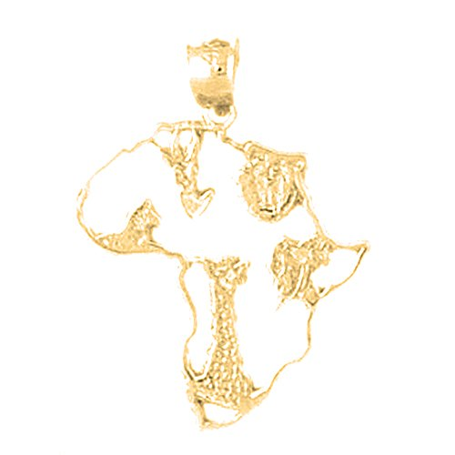 18K Yellow Gold Africa Pendant - 28 mm by JewelsObsession