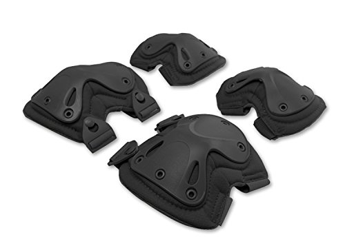 Pack Of 4 Tactical Combat Knee & Elbow Protective Pads Guard Black