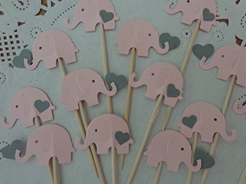 Light Pink Elephants with Grey Hearts Cupcake Toppers – Elephant and Hearts Food Picks – Gray and Pink Elephant Party – Baby Girl Shower Appetizer Pic…