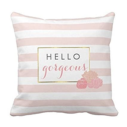 Amazon Proven Hello Gorgeous Pink Stripe Blush Peony Floral Enchanting Blush Decorative Pillows