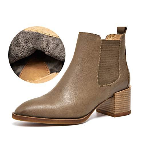 MGM-Joymod Women's Fall Winter Pointed Toe Slip-on Thick Mid Heel Elastic Chelsea Ankle Boots Work Office Dress Booties Khaki Leather/Plus Velvet