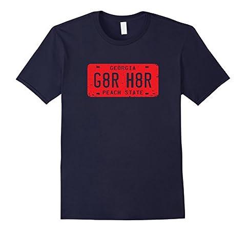 Mens G8R H8R Georgia License Plate Football T-Shirt 2XL Navy (Georgia Blues Dawgs)