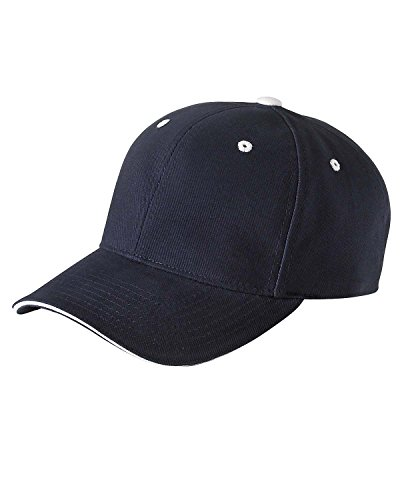 Yupoong Brushed Cotton Twill 6-Panel Mid-Profile Sandwich Cap (6262S)- NAVY/WHITE, OS Brushed Twill Sandwich