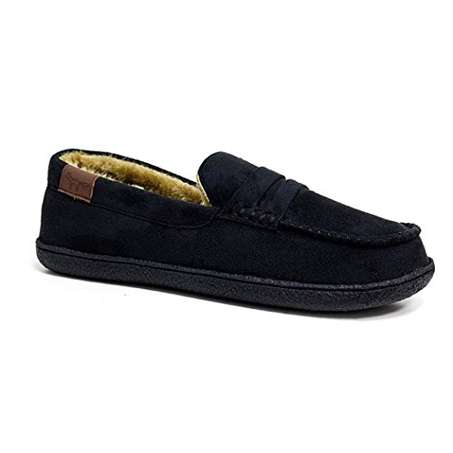 Mens New Hampshire Faux Suede Fur Lined Moccasin Slippers Shoes Size 7-12 Black eoG1YhM