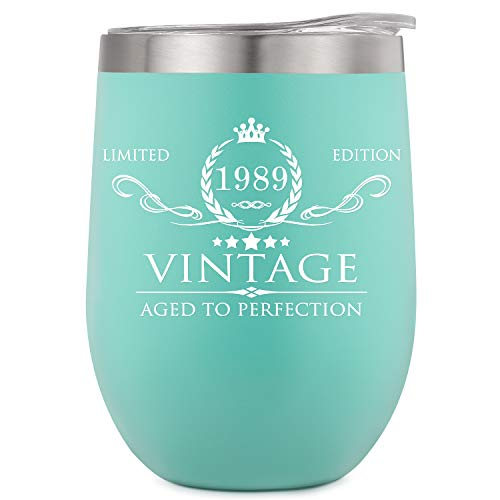 1989 30th Birthday Gifts for Women Men Insulated Wine Tumbler - 12oz Mint Double Wall Vacuum Cup with Lid - Funny 30th Anniversary Gifts Idea, Decorations for Her/Him, Mom, Dad, Husband, Wife (30th Birthday Gift Ideas For Best Friend)