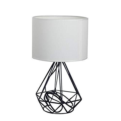 Kirin Plug In Table Lamp Shade E26 Modern Style Geometric Black Painted Metal Wire Cage Hollow Lamp Base With White Fabric Drum Lamp Shades For Living