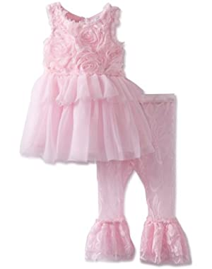 Baby-Girls Newborn Chiffon Rosette Tunic And Lace Legging Set