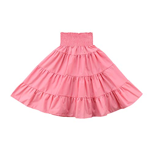 remeo suit Todder Baby Girl 1-5Years Pleated Maxi Skirt Solid Skirt with Elastic Waistband (Pink, ()