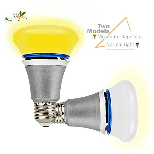 GLOUE Bug Light Mosquitoes Repellent Lamp Yellow Light LED Light Bulbs Dual-Model with Normal White Light Non-Dimmable … - Outlets 10 On I