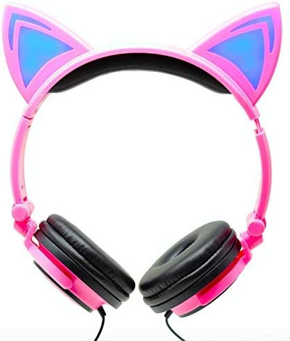 Kids Headphones Cat Ear Headphones for Kids Toddler Foldable Wired LED Lights Over Ear Girls Children Teens Headset Pink