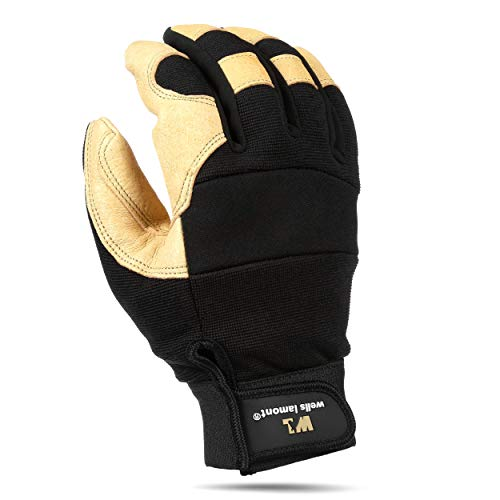 Men's Hi-Dexterity Leather Work Gloves, Ultra Comfort, Stretch Fit, Large (Wells Lamont 3214L)