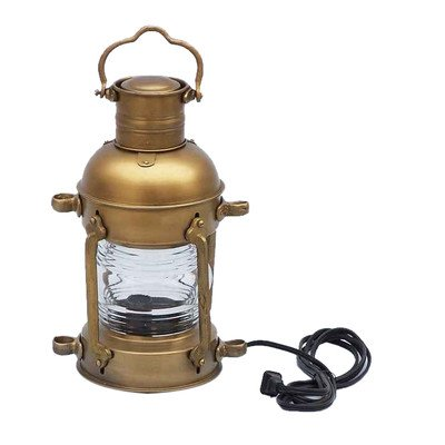 Anchor Electric Lantern Size: 15″ H x 6″ W x 8″ D, Finish: Antique Brass