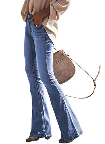 Dokotoo Womens Plus Size Winter Solid Casual Classic Mid Waist 5 Pockets Stretched Solid Fitted Flare Bell Bottom Wash Denim Jeans Pants XX-Large