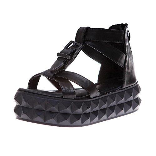 AalarDom Mujer Puntera Abierta Mini Tacón Pu Sólido Hebilla Sandalias de vestir Negro