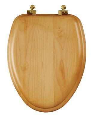 Bemis Elongated Toilet Seat Elongated Oak Chrome Hinges - Oak Round Front Toilet Seat