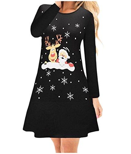 Crewneck Comfy Basic Women Tops Xmas Printing 13 Style Pullover Dress 1UqCwRxqt