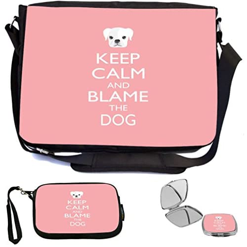Rikki Knight Keep Calm and Blame the Dog Light Pink Color Design COMBO Multifunction Messenger Laptop Bag - with padded insert for School or Work - includes Wristlet & Mirror