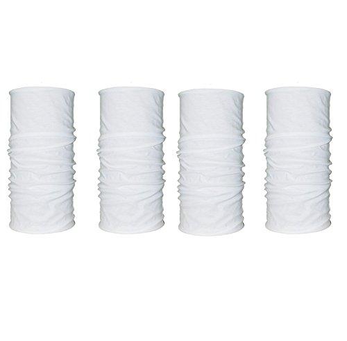 Kalily 4 Pack Solid White Moisture Wicking Headwear Bandana Neck - White Neck Wear