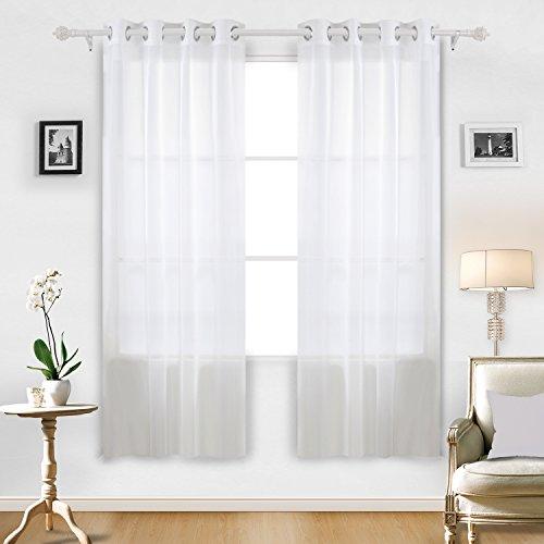 Deconovo Sheer White Curtains Grommet Curtains Voile Curtains Sheer Curtains  For Living Room 52W X 84L Inch White 1 Pair