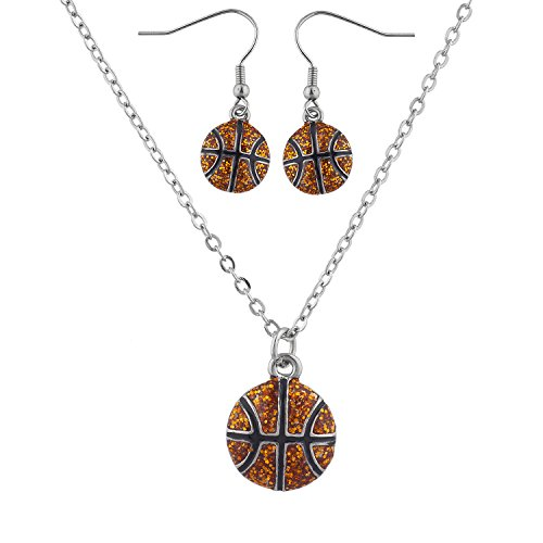 - Lux Accessories Silver Tone Basketball Sports Necklace Earring Jewelry Set 2PC