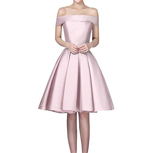 Shiningdress Women's Elegant Boat Neck Satin Mini Party Prom Gown Size 12 Pink