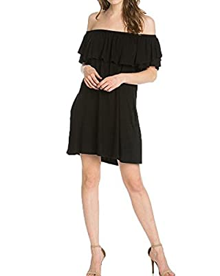 Womens Off The Shoulder Ruffle Midi Dresses Casual Summer Dress with Pockets