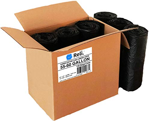 Reli. Trash Bags w/ Handles (55-60 Gallon) (150 Count), Double-Ply HandleStar Garbage Bags (Black), Handle Tie Can Liners with 55 Gallon (55 Gal) - 60 Gallon (60 Gal) Capacity by Reli. (Image #1)