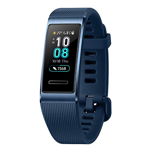 Huawei Band 3 Pro All-in-One Fitness Activity Tracker, 5ATM Water Resistance for Swim, 24/7 Heart Rate Monitor, Built-in GPS, Multi-Sports Mode, Sleep Tracking, Blue, One Size